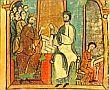 King Alfons I of Aragón-Catalonia and his Prime Minister conferring in the Arxiu Comtal de Barcelona