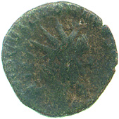 Bronze antonianus of Victorinus, obverse showing radiate bust of Victorinus right