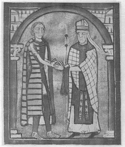 Bishop Ermengol of Urgell mistrusting a lay magnate doing homage to him, from the Liber Feudorum Maior