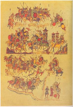 A battle scene from the Biblia de Ripoll