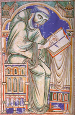 Medieval monastic scribe at work