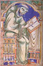 Medieval monastic scribe at work