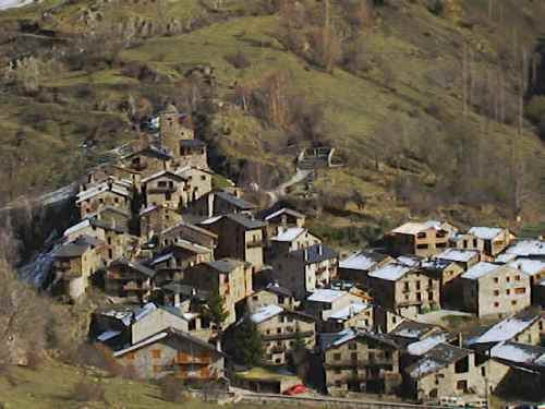Aerial view of the village of Os de Civis, Andorra