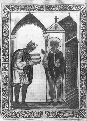 King Athelstan offering a copy of Bede's Life of Saint Cuthbert to the saint, from the book