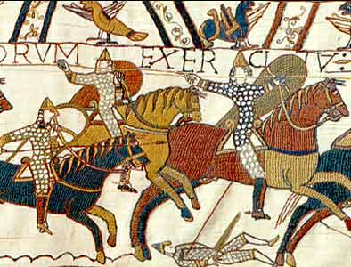 Norman knights charging, in the Bayeux Tapestry