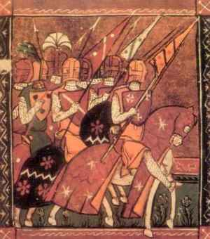 Godfrey of Bouillon, King of Jerusalem, with some of his knights