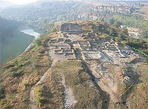 Aerial view of the ruins at l'Esquerda, Osona, Catalunya