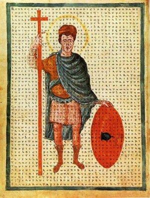 Manuscript illumination of Emperor Louis the Pious as a Roman-style 'miles christi', by Hraban Maur