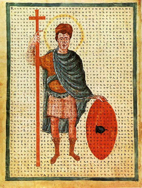 Manuscript illumination of Louis the Pious as 'miles christi' by Hraban Maur