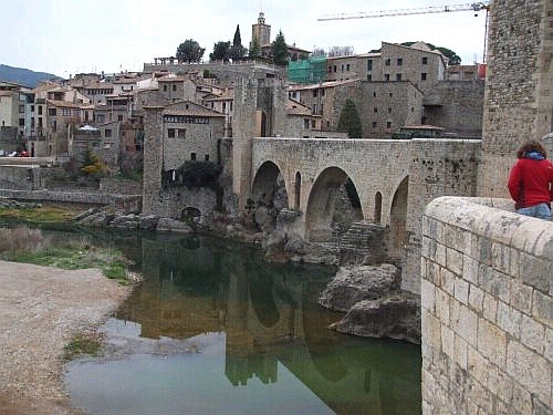 The outside of Besalú seen from halfway across the Pont de Besalú