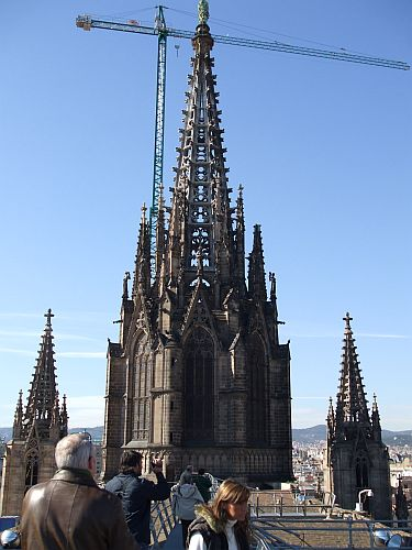 View of the spire of Santa Eulàlia de Barcelona from its roof
