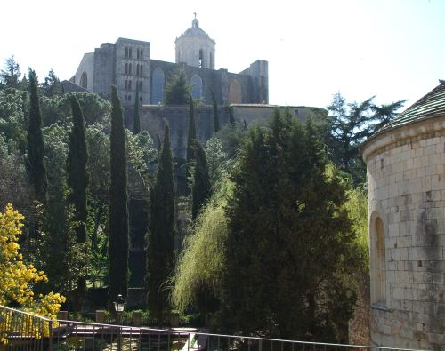 The cathedral of Santa Maria de Girona seen from the garden of Sant Pere de Galligants