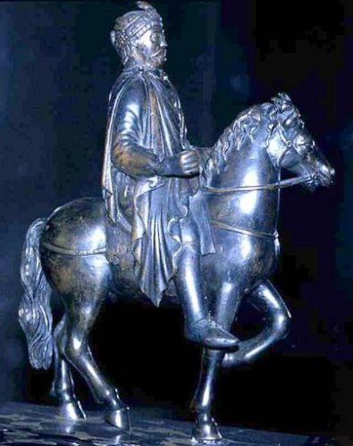 Equestrian statue of Charlemagne or Charles the Bald in the Musée du Louvre, Paris