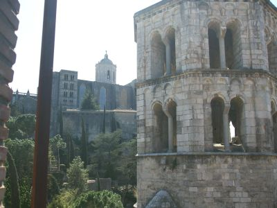 The cathedral of Santa Maria de Girona and the tower of Sant Pere de Galligants viewed from the inner end of the city wall