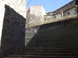 View up steps towards the cathedral of Girona from the Call