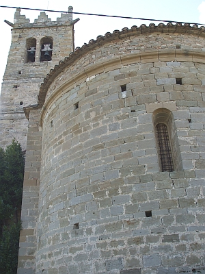 Apse and tower of Sant Andreu de Gurb viewed in 'extreme close up'