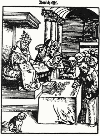 The Pope depicted as Antichrist in a 1521 woodcut by Lucas Cranach