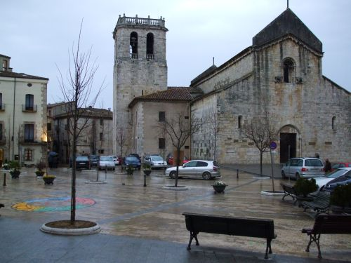 The old monastery of Sant Pere de Besalú viewed from the Plaça de Sant Pere