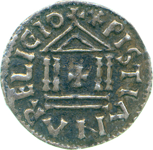 Reverse of a Temple-type denier of Louis the Pious, Fitzwilliam Museum PG.112, copyright The Fitzwilliam Museum Cambridge