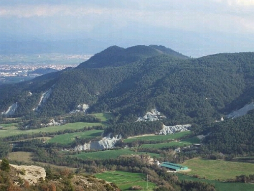 The Plana de Gurb and the Turó del Castell de Gurb, viewed from Sant Bartomeu del Grau