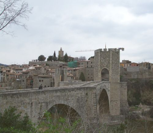 The Pont de Besalú and the town behind it
