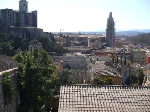 The medieval city of Girona viewed from atop the city walls