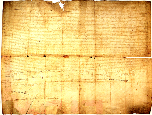 Low-quality facsimile of the charter of the Vall de Sant Joan hearing