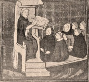 Medieval lecturer addressing students