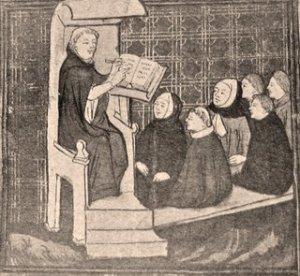 Medieval lecturer addressing students