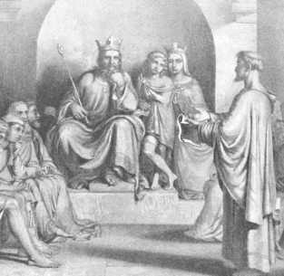 Romantic representation of King Alfred and his Witan