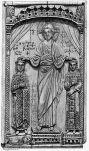 Statue of Otto II and his wife Theophanu being crowned by Christ, in St Pantaleon\'s Cologne