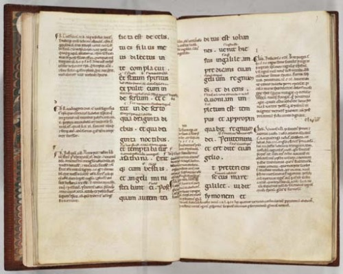 A glossed Italian Gospel of Mark, 1140X60 (Free Library of Philadelphia, Rare Books Collection, MS Lewis E. 042)