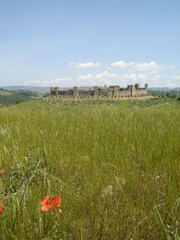 The Tuscan hilltown of Monteriggioni; photo by Michael Ferris