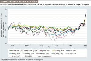 Graph demonstrating recent global temparature rise, from the New Scientist