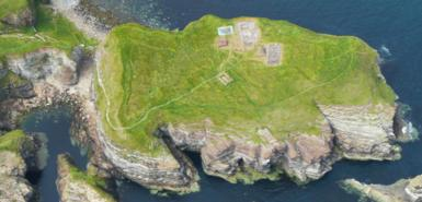 Aerial view of the Brough of Deerness