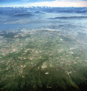 Aerial view of the Large Hadron Collider, Cern, Switzerland