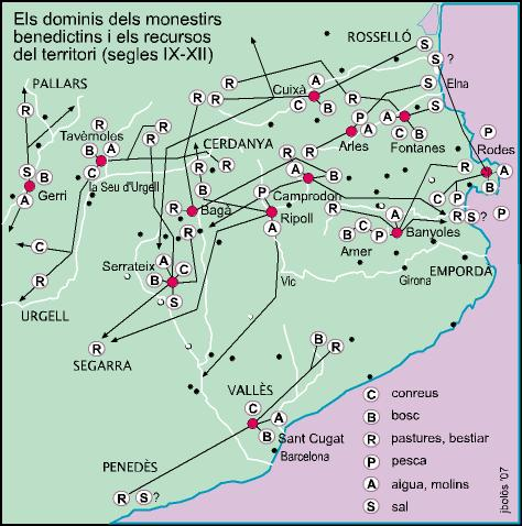 The domains of the Benedictine monasteries in Catalonia and the uses of territory (9th to 13th centuries)