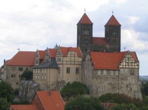 The castle and monastery of Quedlinburg, founded by Otto I's sister St Matilda, from Wikimedia Commons