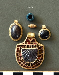Jewellery from the Anglo-Saxon bed burial at Street House, Loftus, 200 yards from a Neolithic and a Bronze Age burial mound