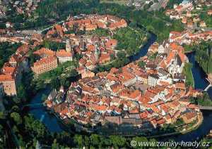 Aerial view of the Bohemian city of Český Krumlov, whose building runs from the medieval period to the present day
