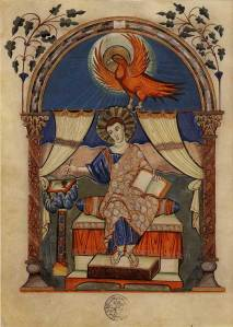 An illumination of St John writing his Gospel from the Lorsch Gospels, taken from Wikimedia Commons