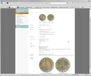 Screen capture of a record from the Fitzwilliam Museum's OPAC catalogue
