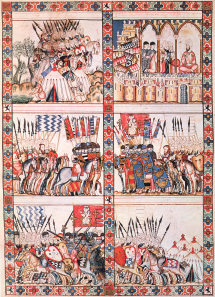 A high medieval illumination of battles during the Reconquista