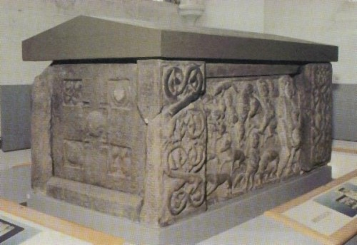 Three-quarter view of the St Andrews sarcophagus as diplayed in 2006