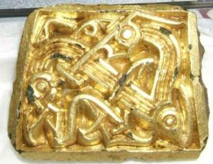 Gilded plaque with zoomorphic animal ornament from Stavnsager, dating from c. 600 AD