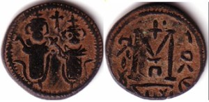 Anonymous Arab-Byzantine fals from Baalbek (Lebanon), 650-90 A. D., imitating Byzantine nummus of Two Emperors type