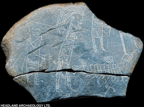 Sketch on slate from Inchmarnock of Vikings stealing St Ernan's reliquary