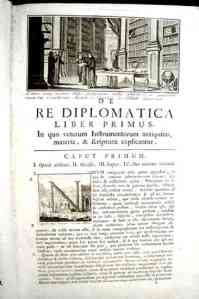 First page of a first edition of Mabillon's <em>De Re Diplomatica</em>