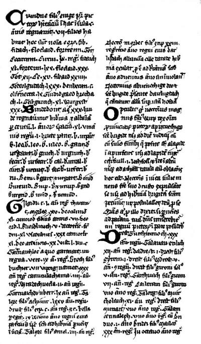 First folio of the Pictish King List, from Paris BN MS Latin 4126, facsimile by Brantonei Draiktan Spurlock