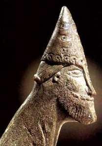 Antler carving of a presumed Norseman found at Sigtuna